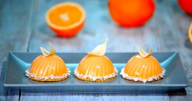 Муссовое пирожное Апельсин в зеркальной глазури