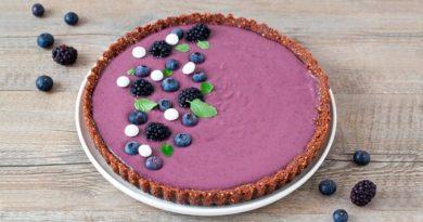 Творожный пирог с черникой без выпечки