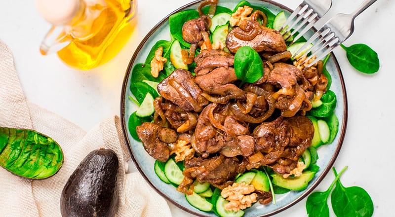 ПП-куриная печень с овощами, тушеная в духовке